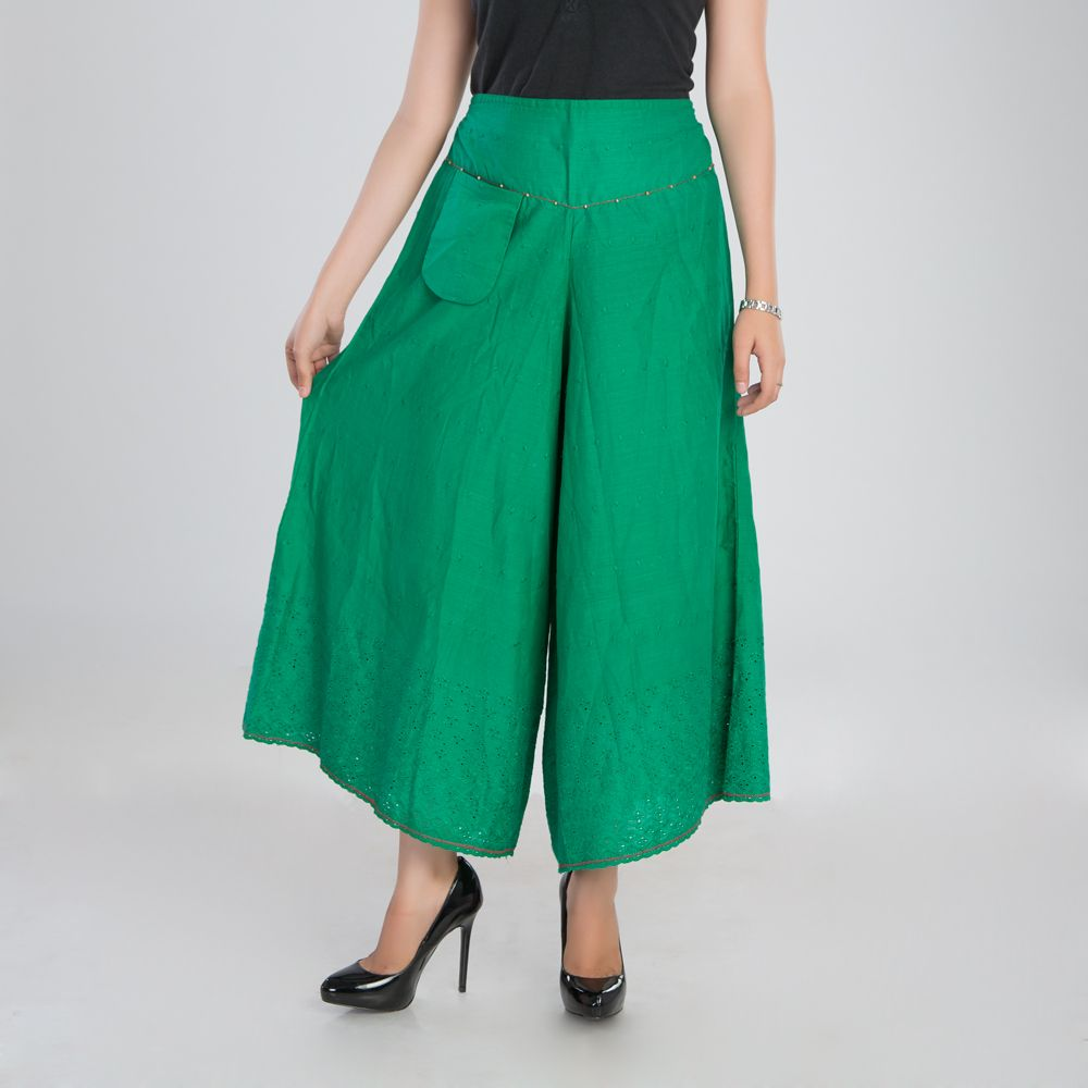 Green Cutwork Cotton Palazzo Pants