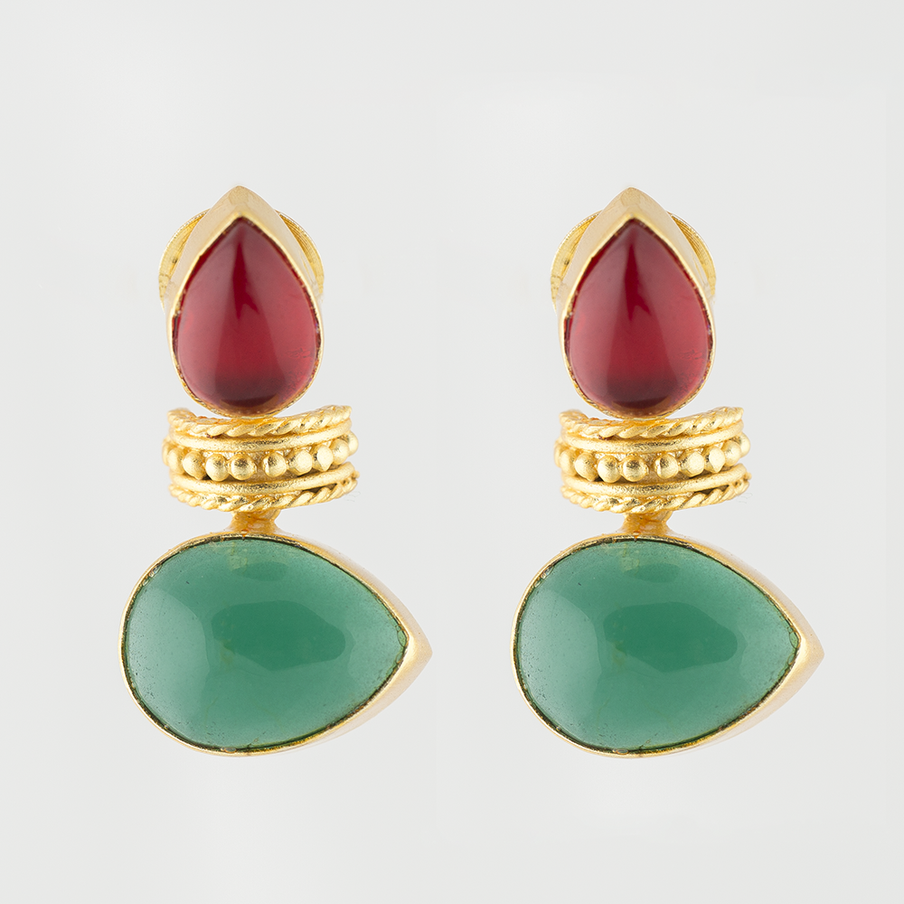 Green Onyx Brass Earrings