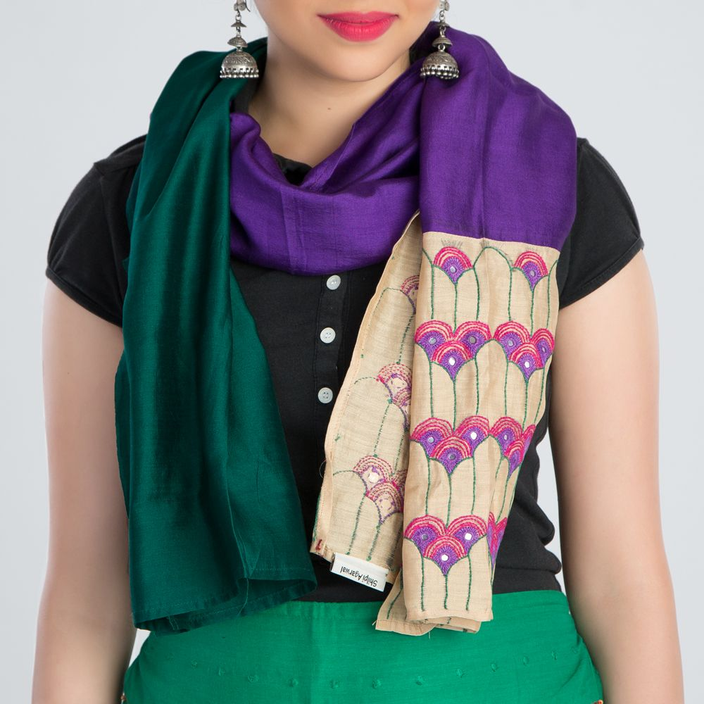 Green Purple Embroidered Silk Stole