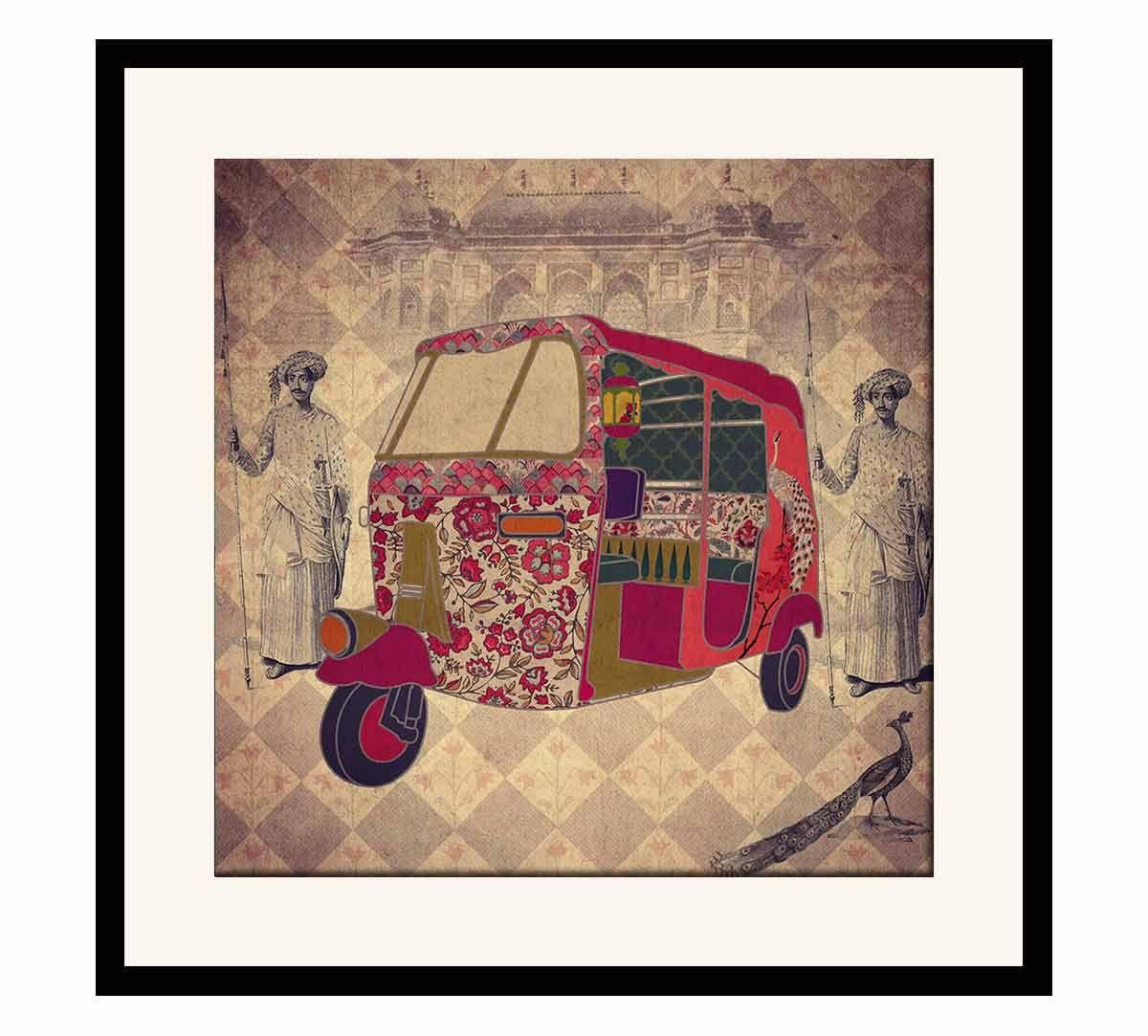 India Circus Auto Tripping Mason Framed Wall Art