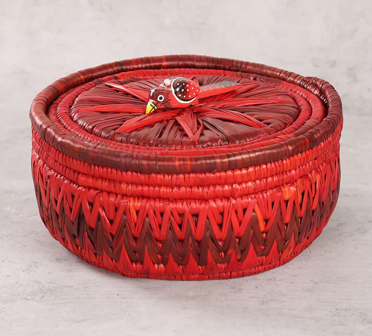 India Circus Badohi Hand Woven Scarlet Basket