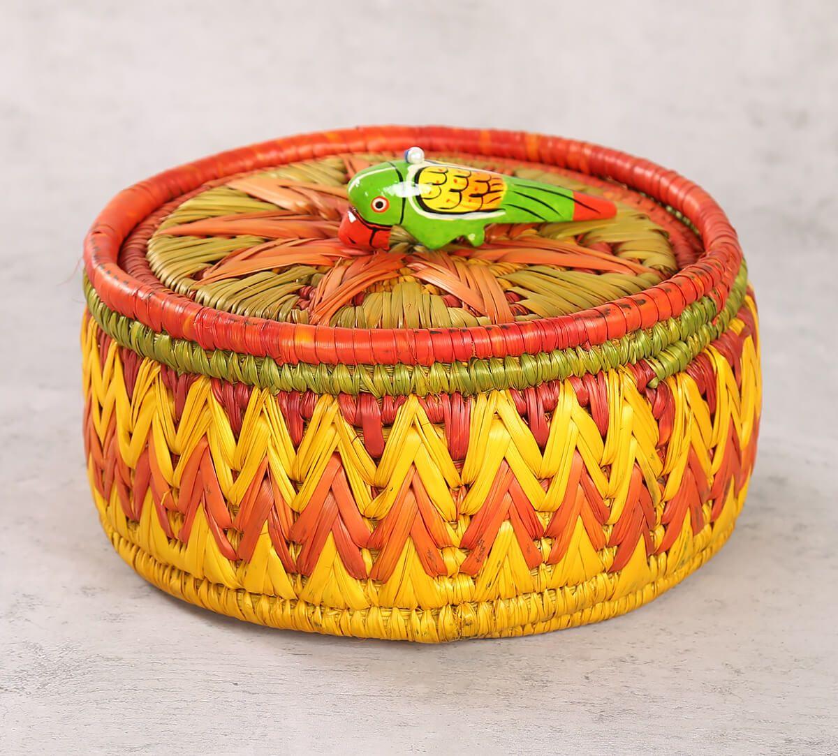 India Circus Badohi Hand Woven Yellow Basket