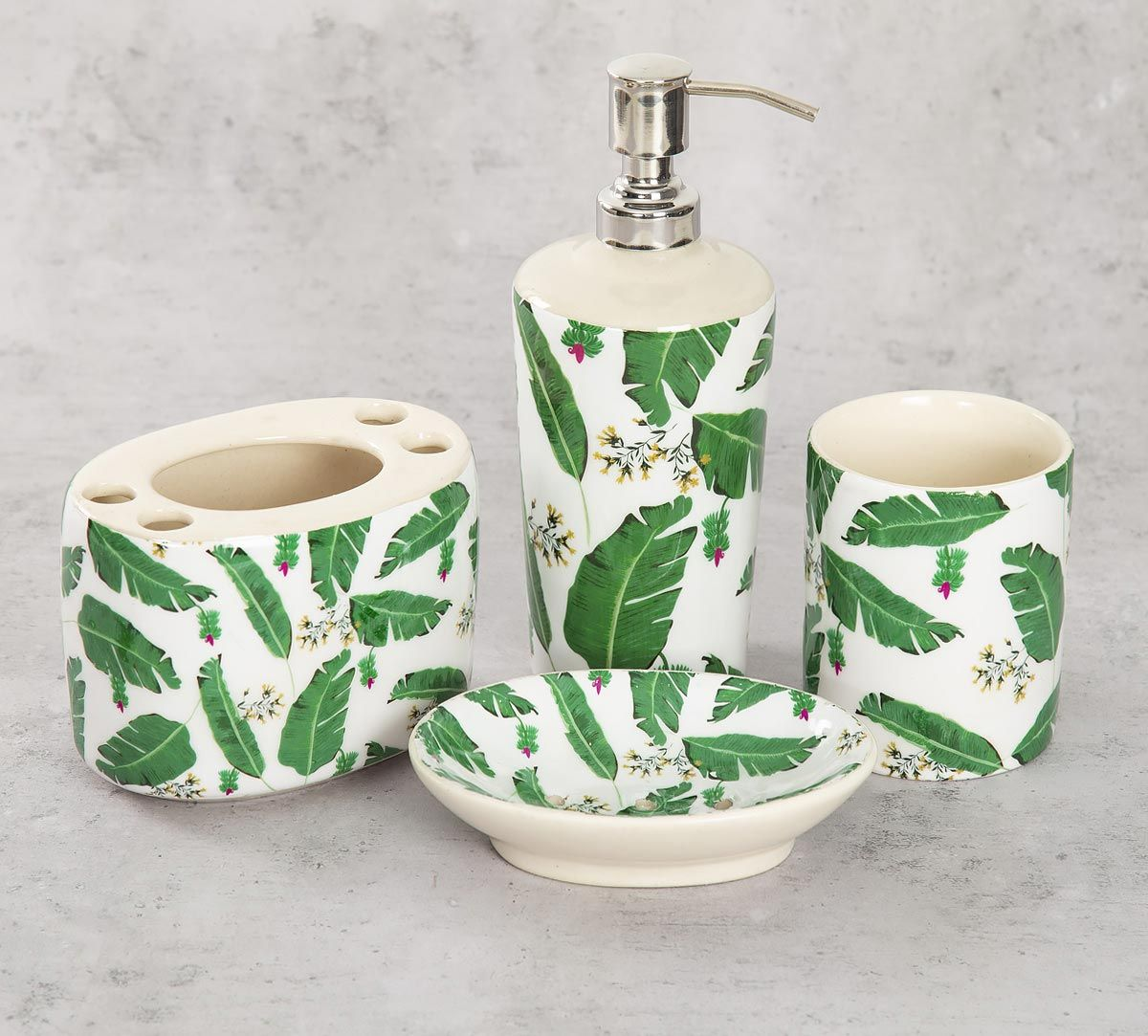India Circus Banana Leaves Bath Accessory Set