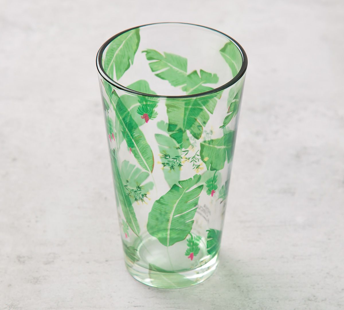 eb894fcd9442 India Circus Banana Leaves Glass Tumbler. Tap to expand