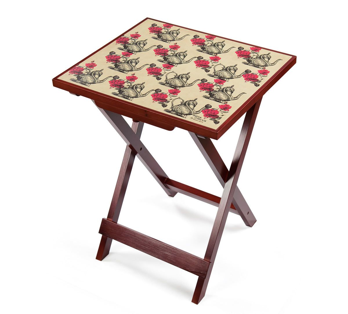 India Circus Beige Mystic Rose Kettles Side Table