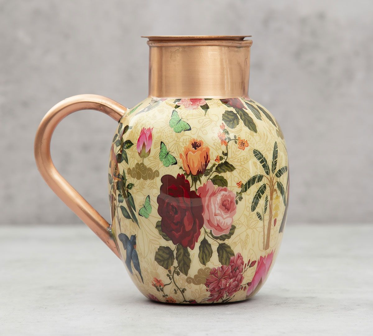 India Circus Bird Land Copper Jug Set