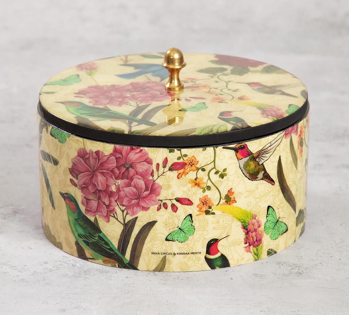 India Circus Bird Land Round Storage Box