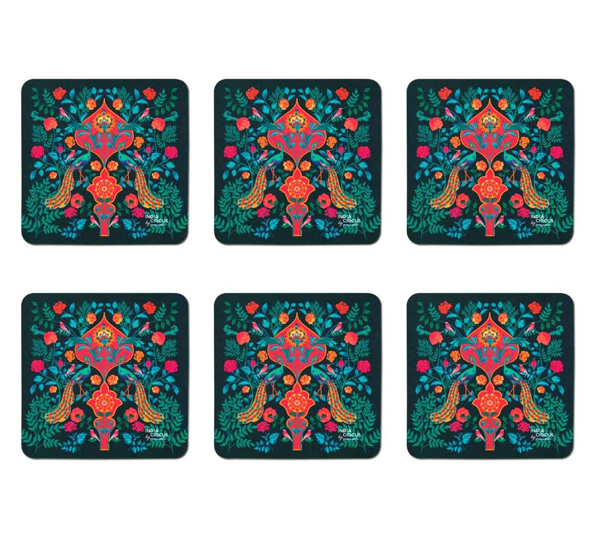 India Circus Birds and Floral Burst Table Coaster