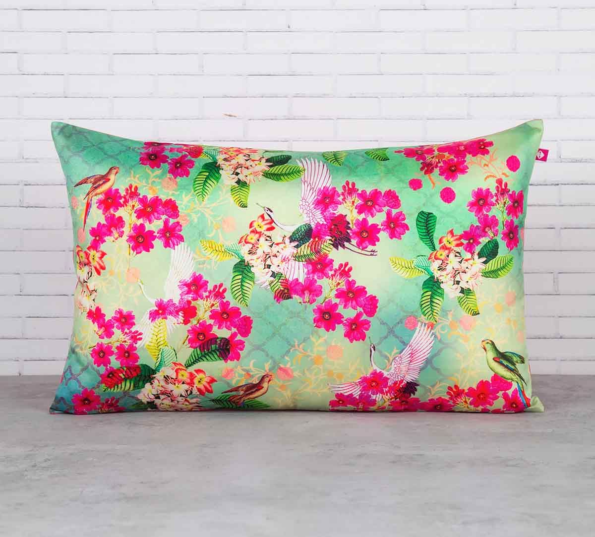 India Circus Birds Floral Paradise Blended Taf Silk Cushion Cover