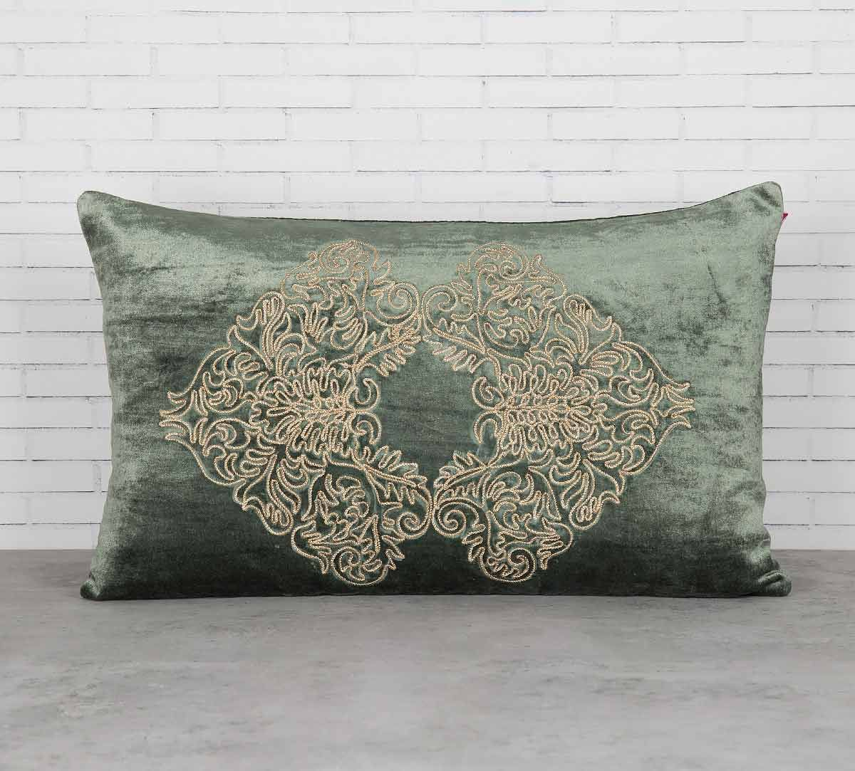 India Circus Bloom Integration Siege Green Embroidered Velvet Cushion Cover