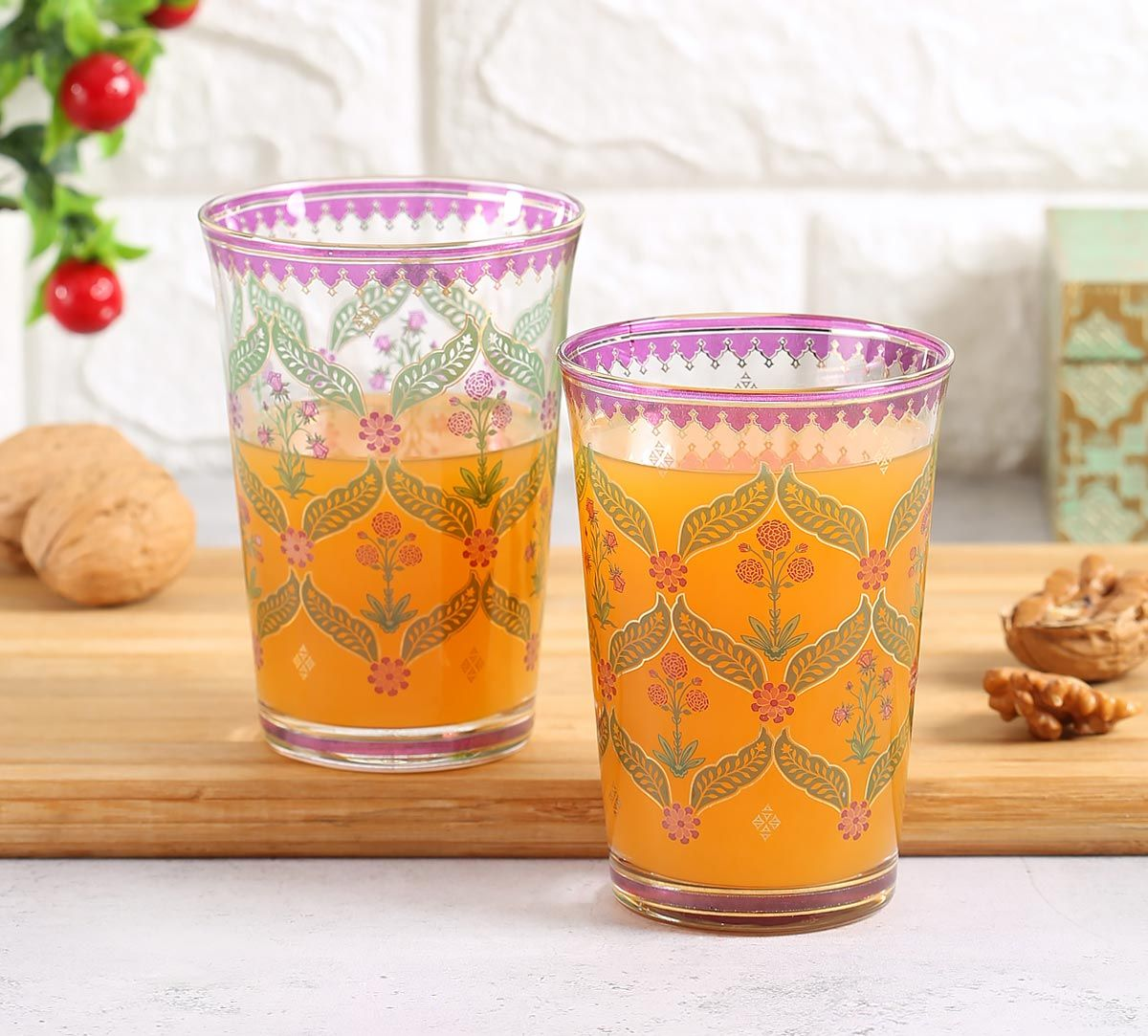 India Circus Blooming Dahlia Glass Tumbler Set of 2