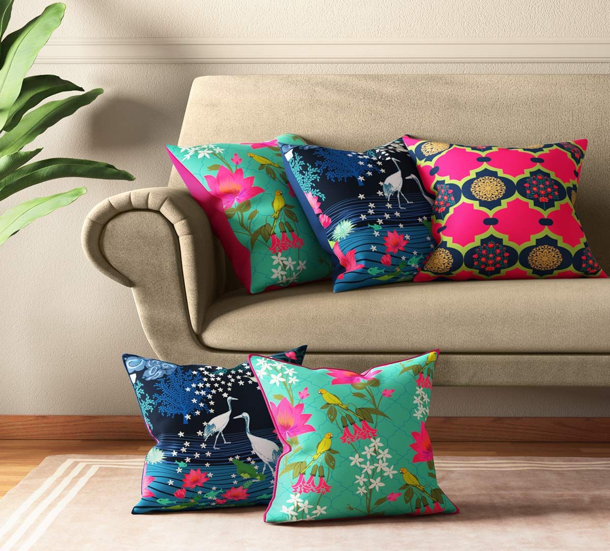 India Circus Blooms & Swans Cushion Cover Set of 5