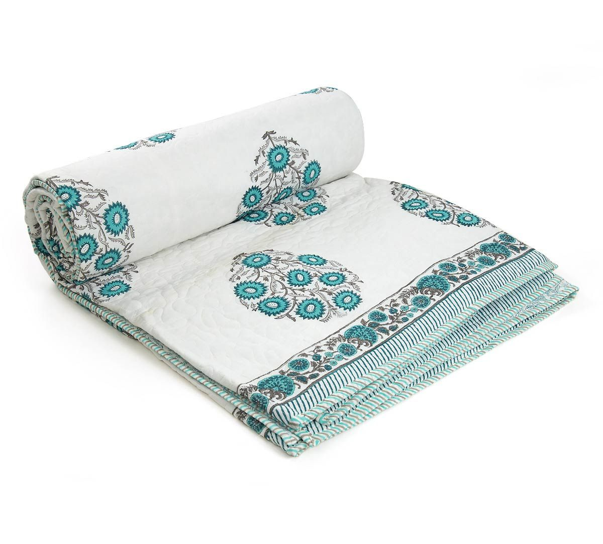 India Circus Blue Blossoms Quilted Comforter Set
