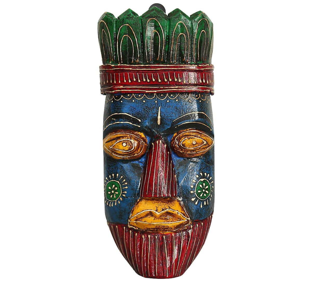 India Circus Blue Hamadryad Decorative Wooden Mask