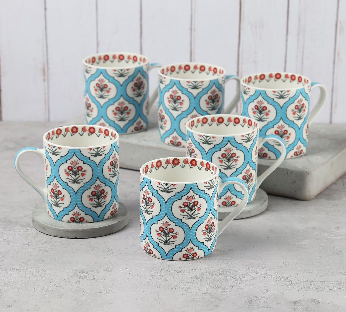 India Circus Blue Lattice Motifs Coffee Mugs Set of 6