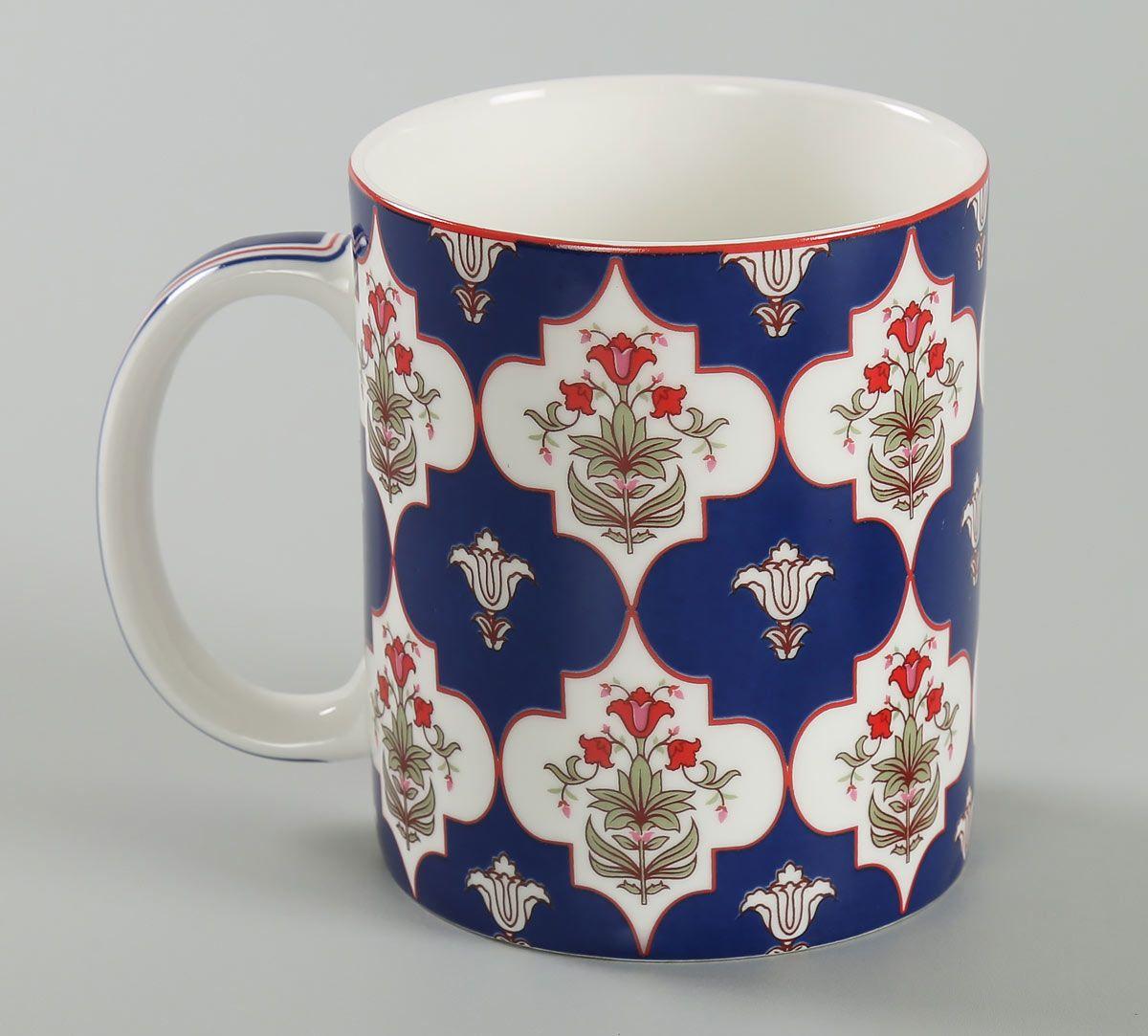 India Circus Blue Lattice Treasures Coffee Mug