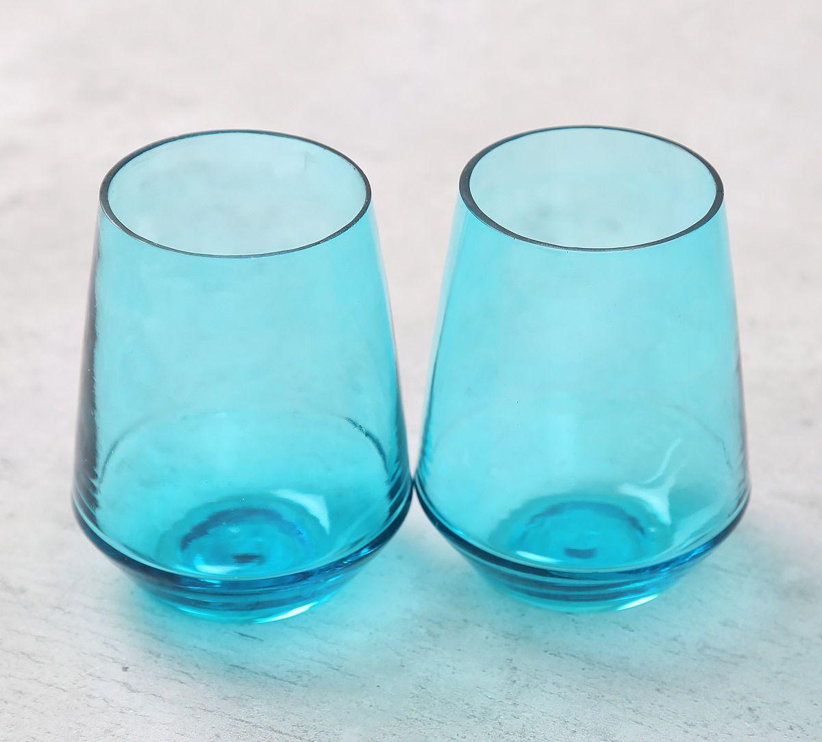 India Circus Blue Round Bottom Drinking Glass (Set of 2)