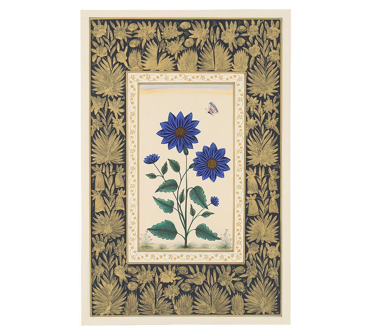 India Circus Blue Sunflower Handmade Poster