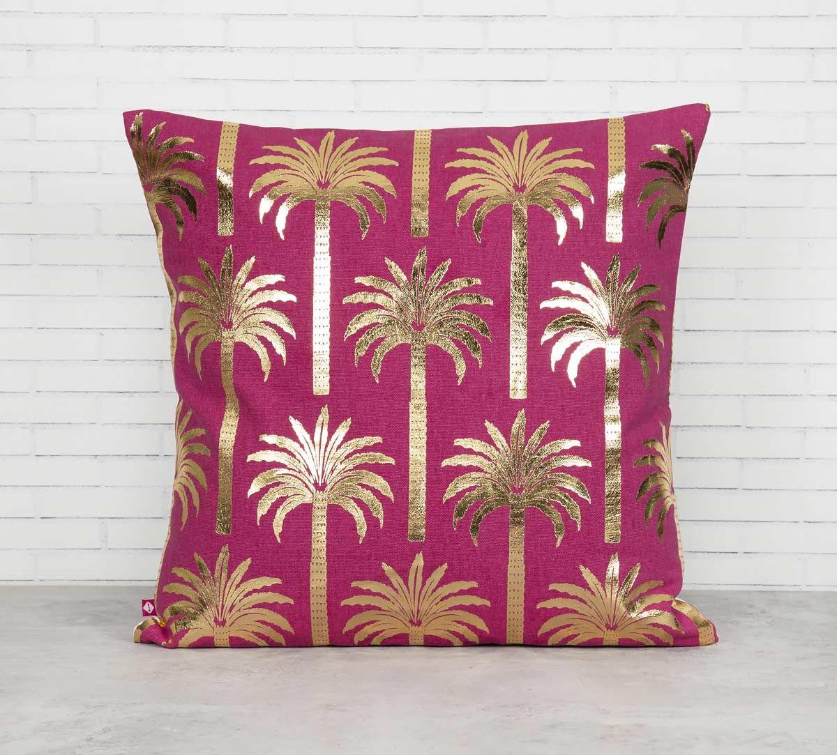 India Circus Blushed Palmeria Foil Cushion Cover