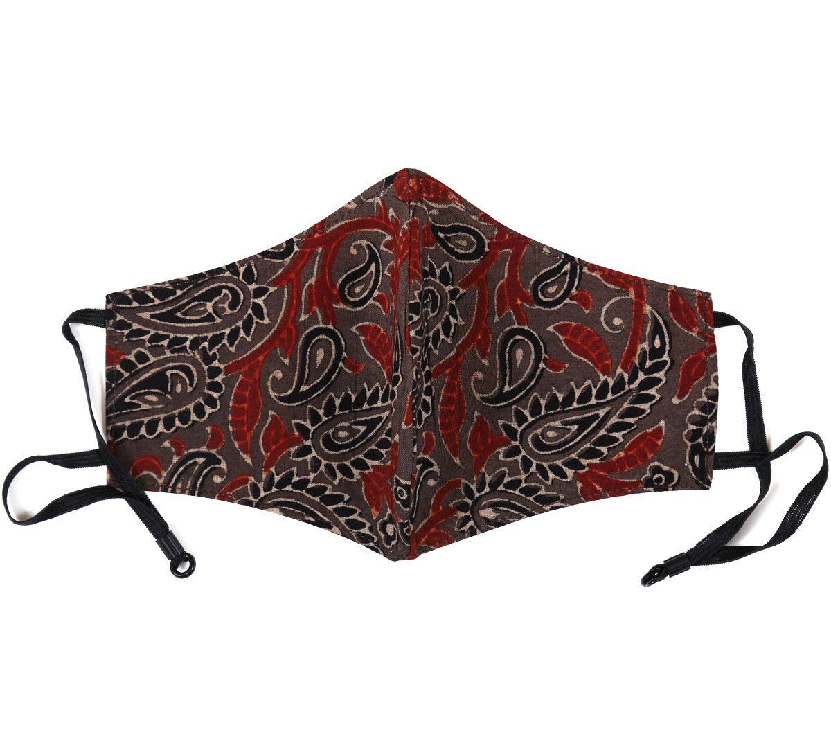 India Circus Brown Ajrak Print Cotton Mask
