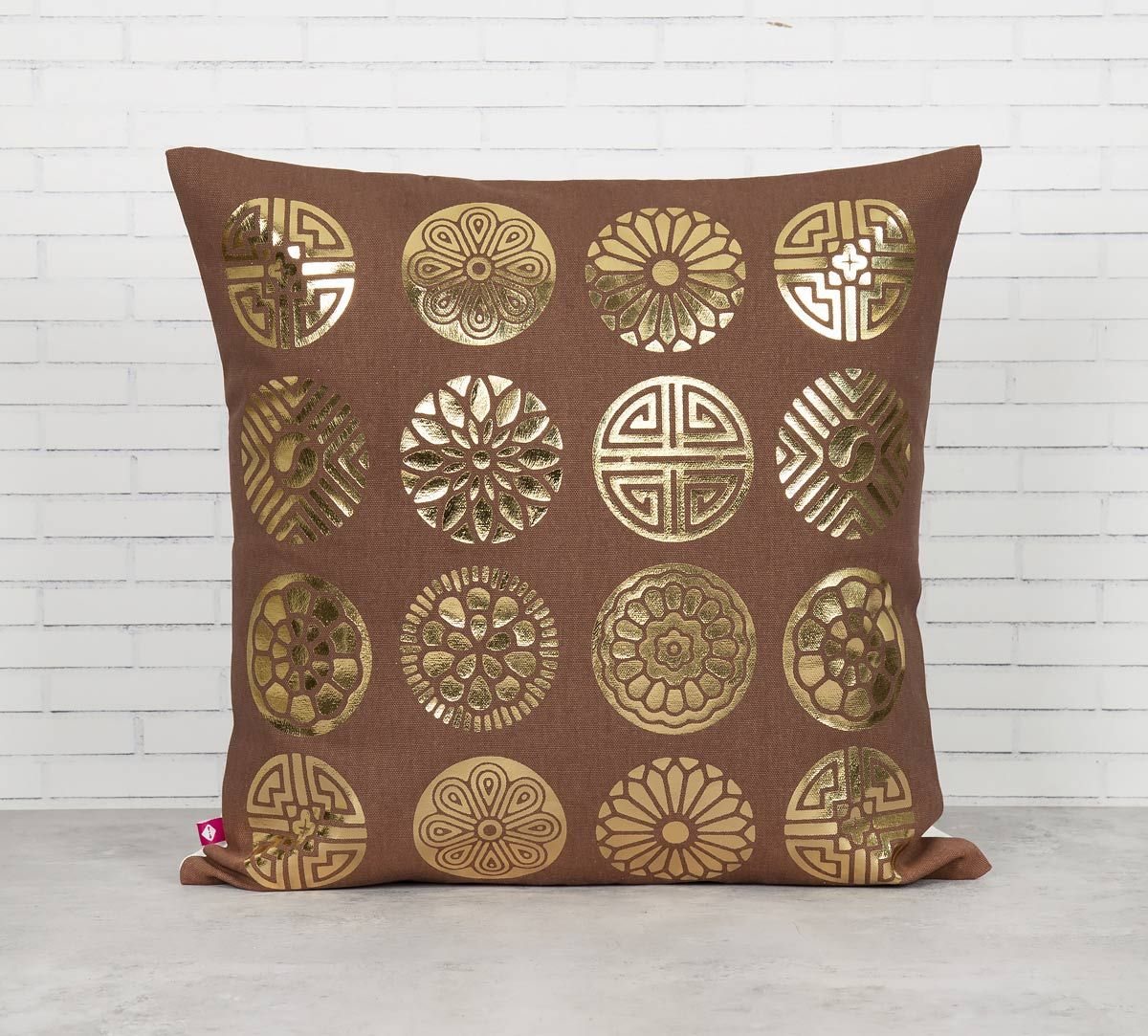India Circus Chakra Motifs Foil Cushion Cover