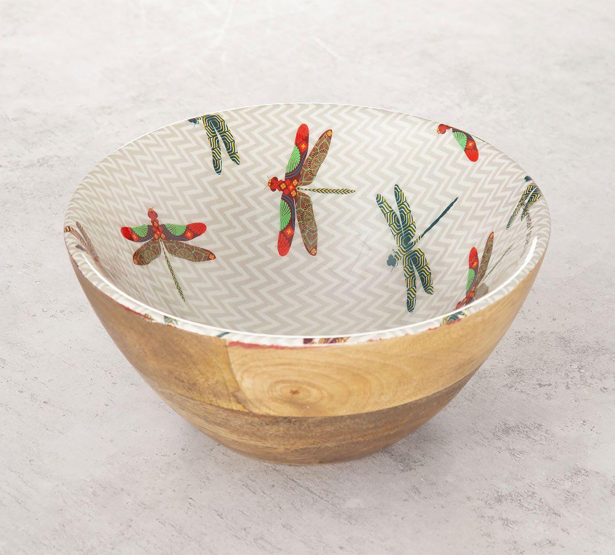 India Circus Chevron Butterflies Wooden Bowl
