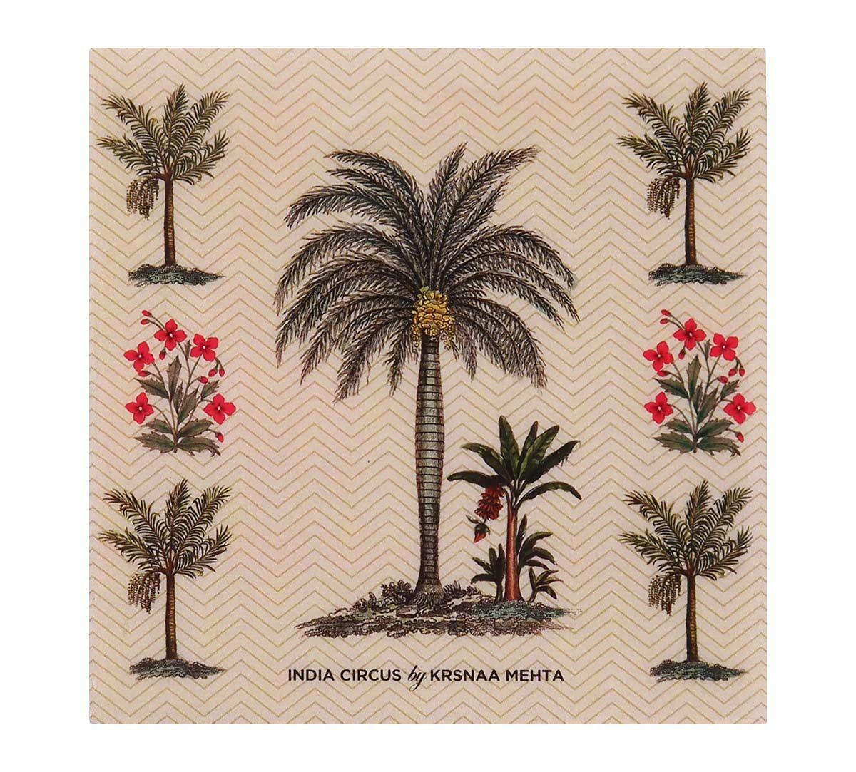 India Circus Chevron Palms MDF Table Coaster Set of 6