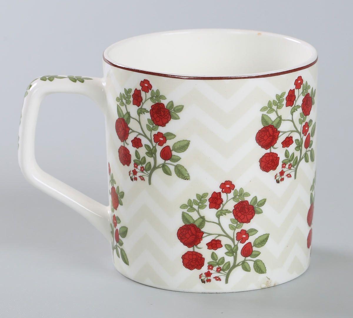 India Circus Chevron Roses Mug Set of 6