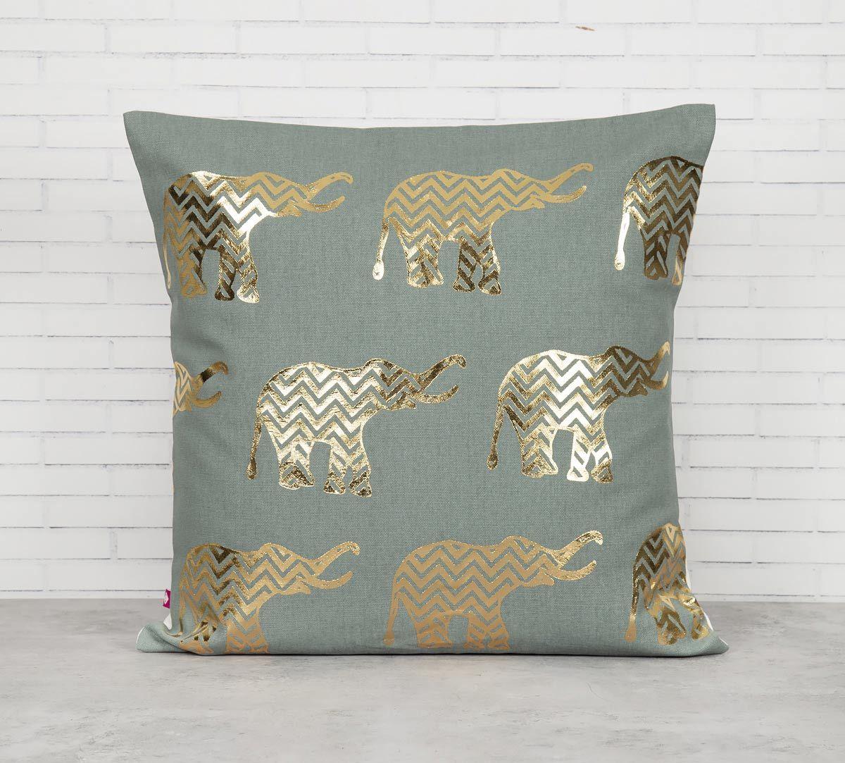 India Circus Chevron Tusker Foil Cushion Cover