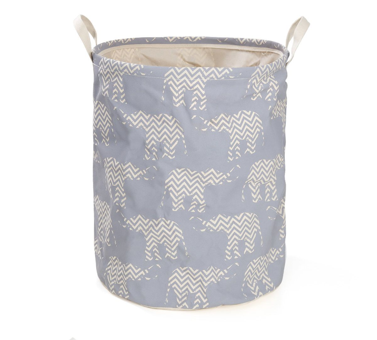 India Circus Chevron Tusker Round Laundry Basket