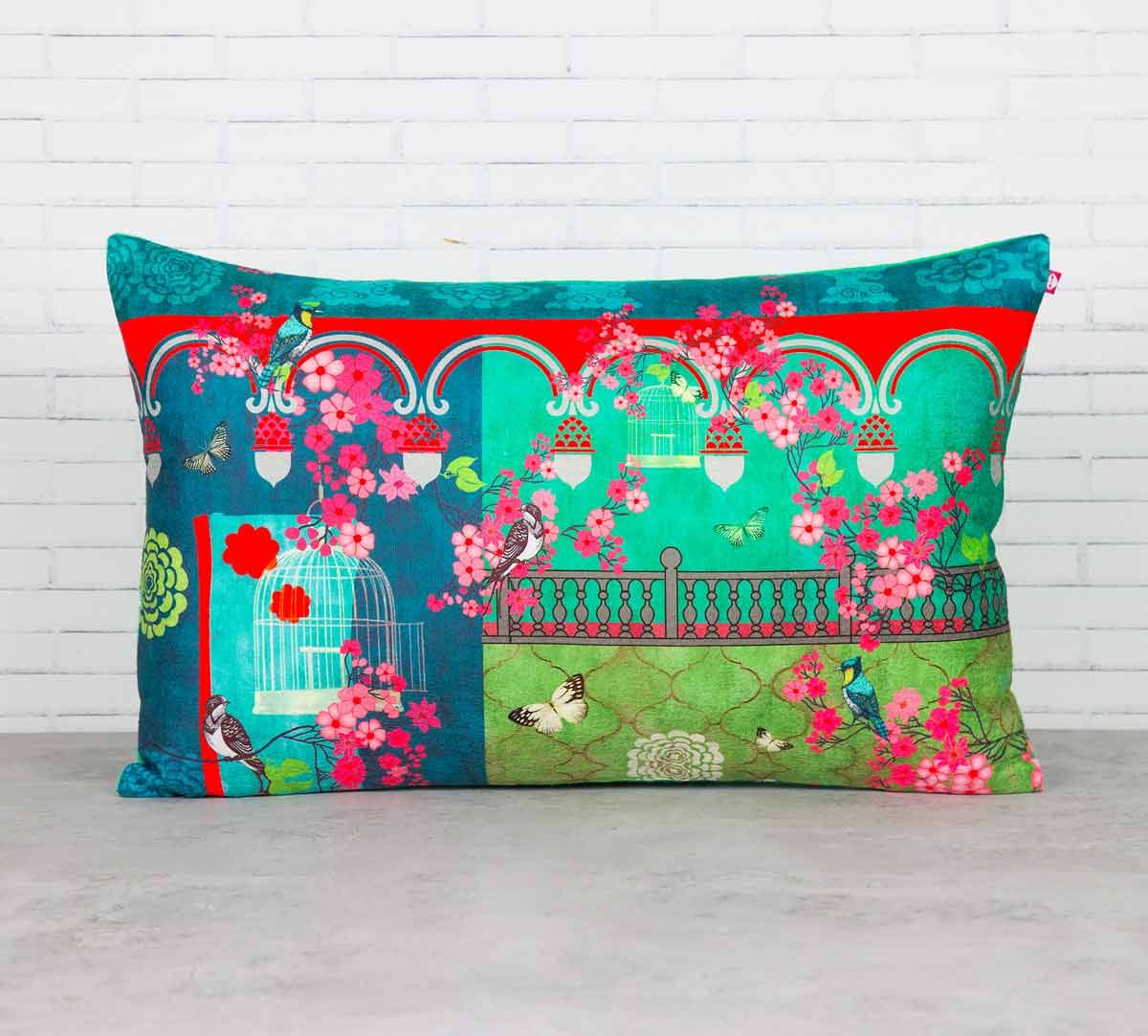 India Circus Chirping Birds Realm Blended Velvet Cushion Cover