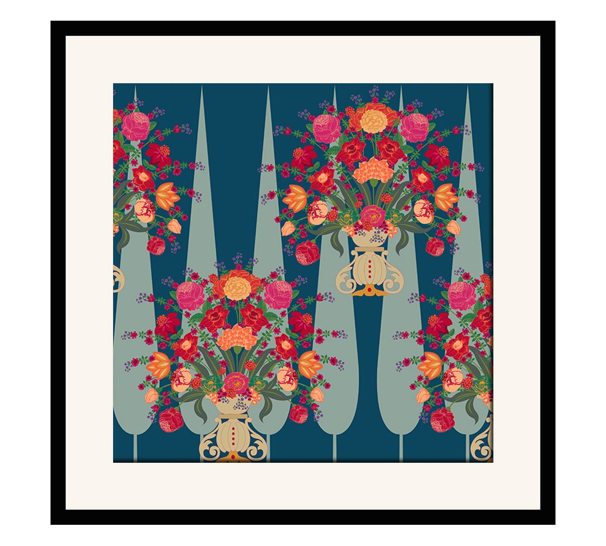 India Circus Conifer Affair 16 x 16 and 24 x 24 Framed Wall Art