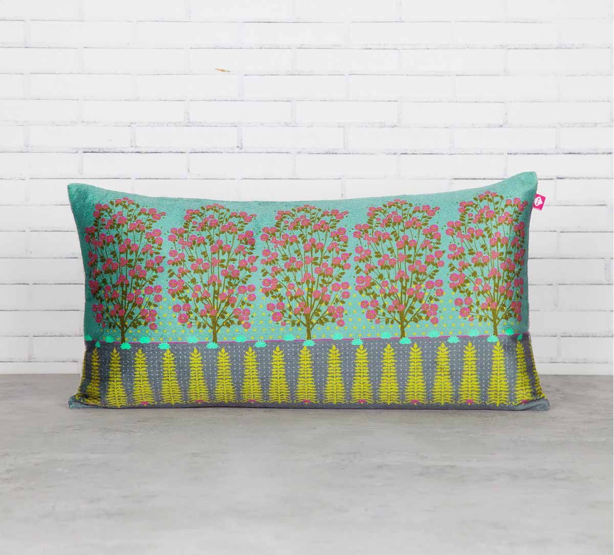 India Circus Conifer and Cherry Blossom Blended Velvet Cushion Cover