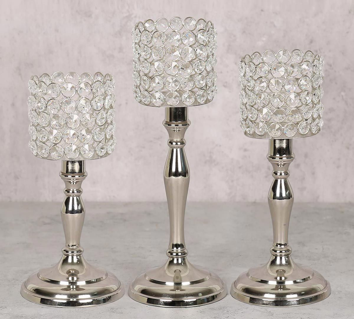 India Circus Crystal Candle Holder Cylindrical Set of 3