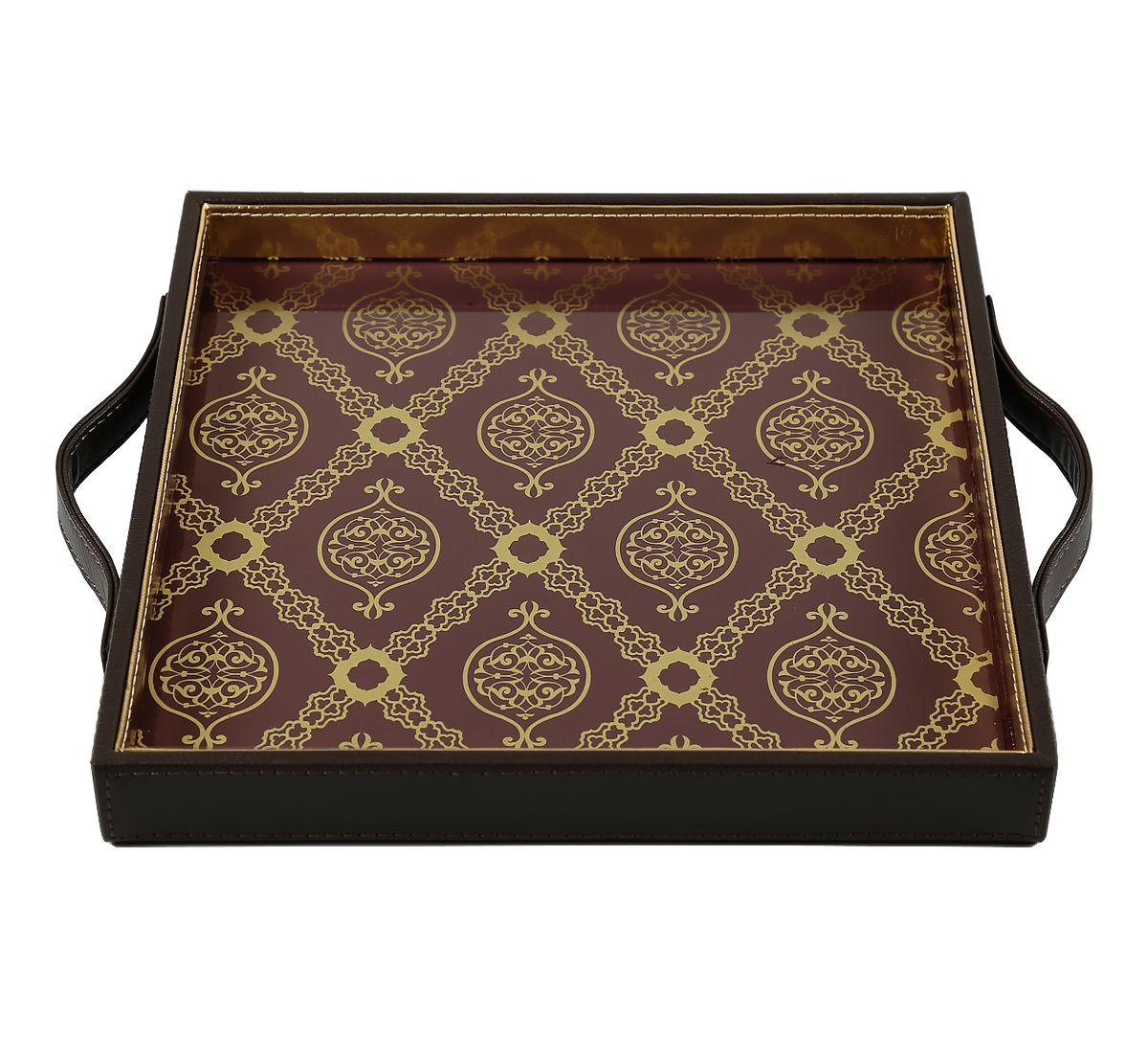 India Circus Damask Print Leather Tray
