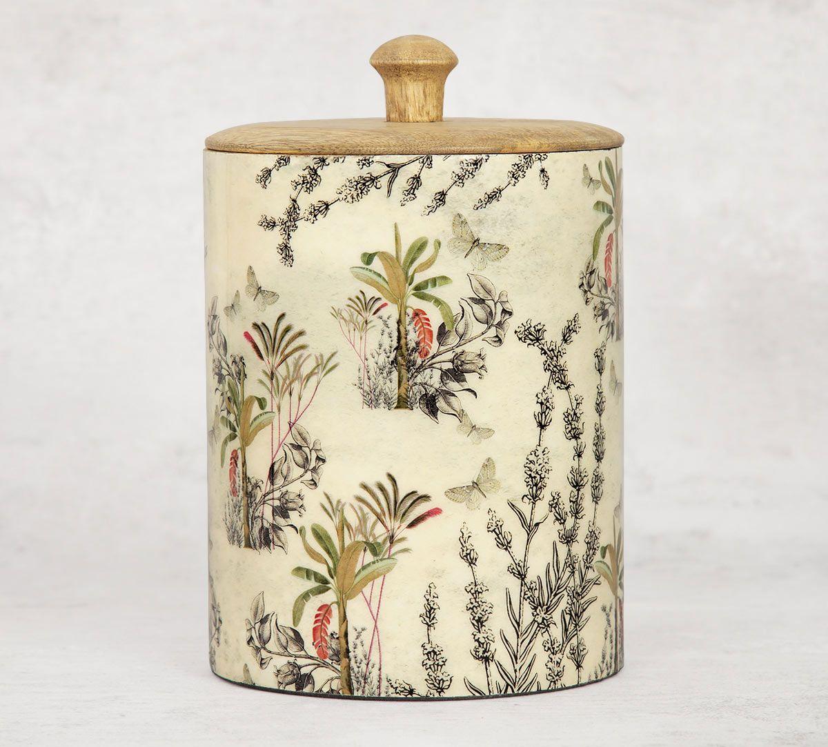 India Circus Desert Plants Medium Wooden Jar
