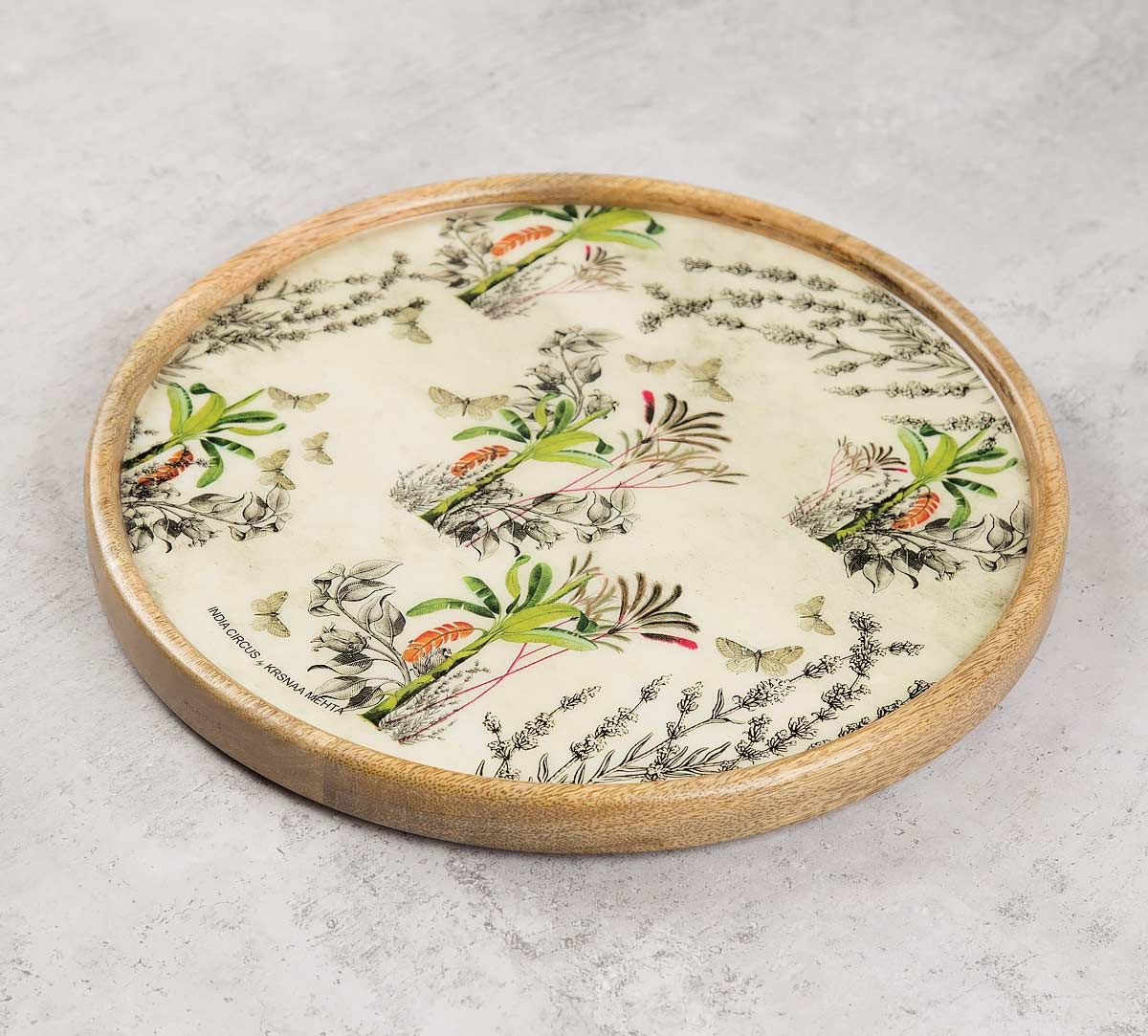 India Circus Desert Plants Wooden Wall Plate
