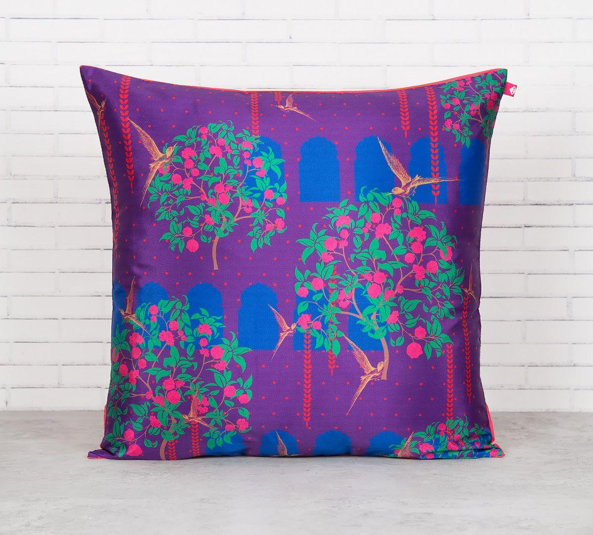 India Circus Eggplant Berry Pecker Blended Taf Silk Cushion Cover