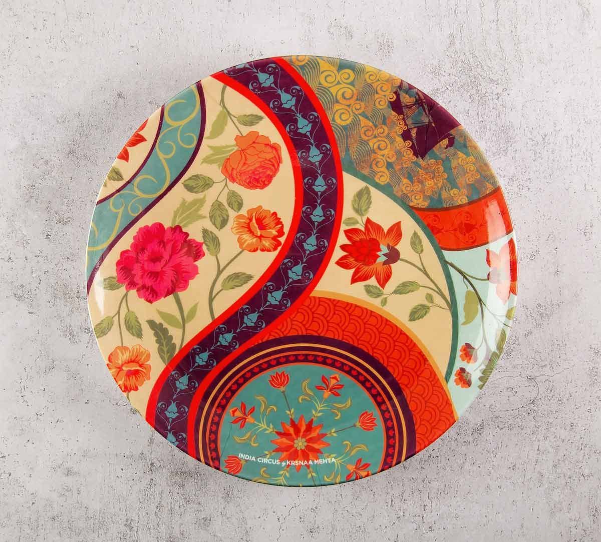 India Circus Floral Embroidery 8 inch Decorative and Snacks Platter