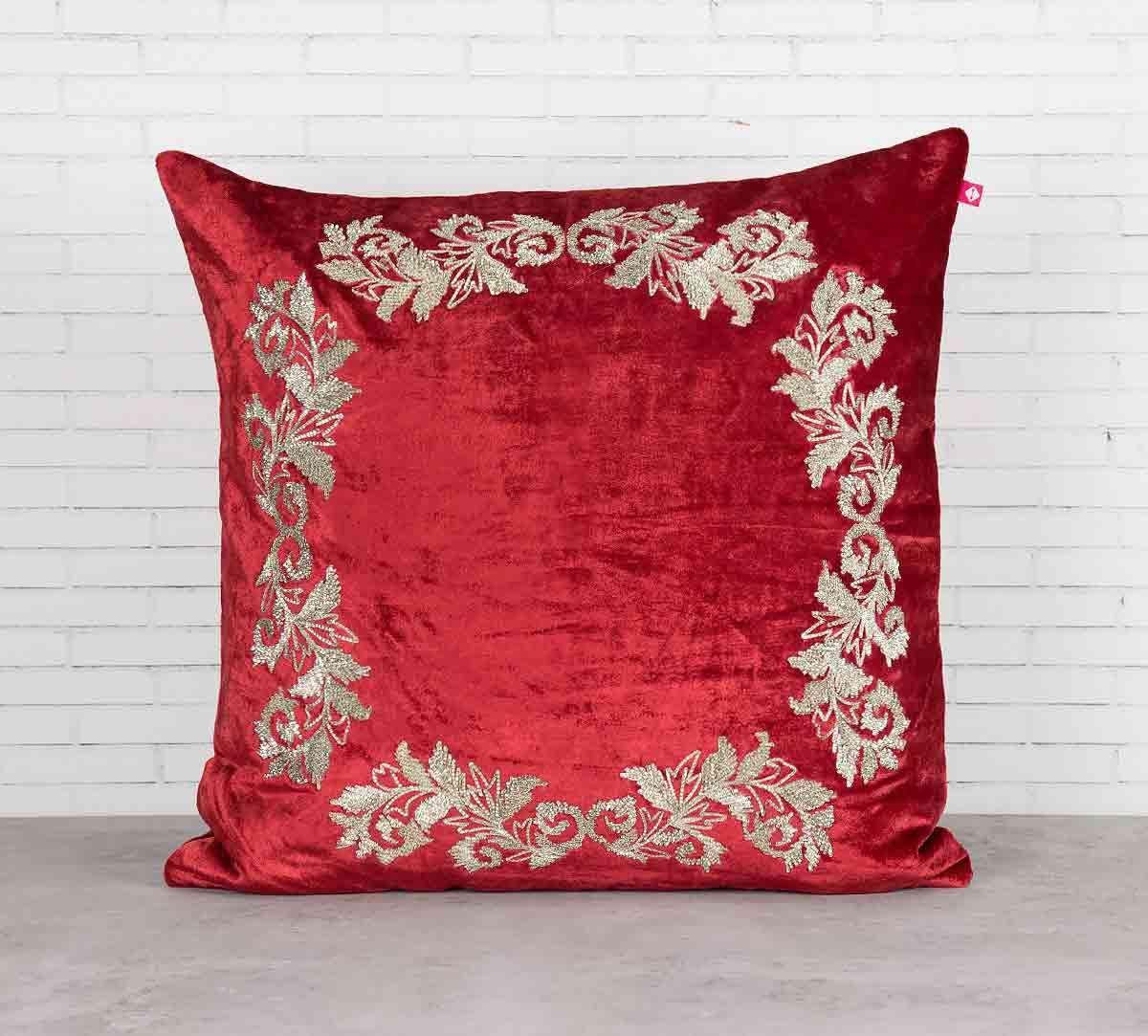 India Circus Floral Enigma Crimson Embroidered Velvet Cushion Cover