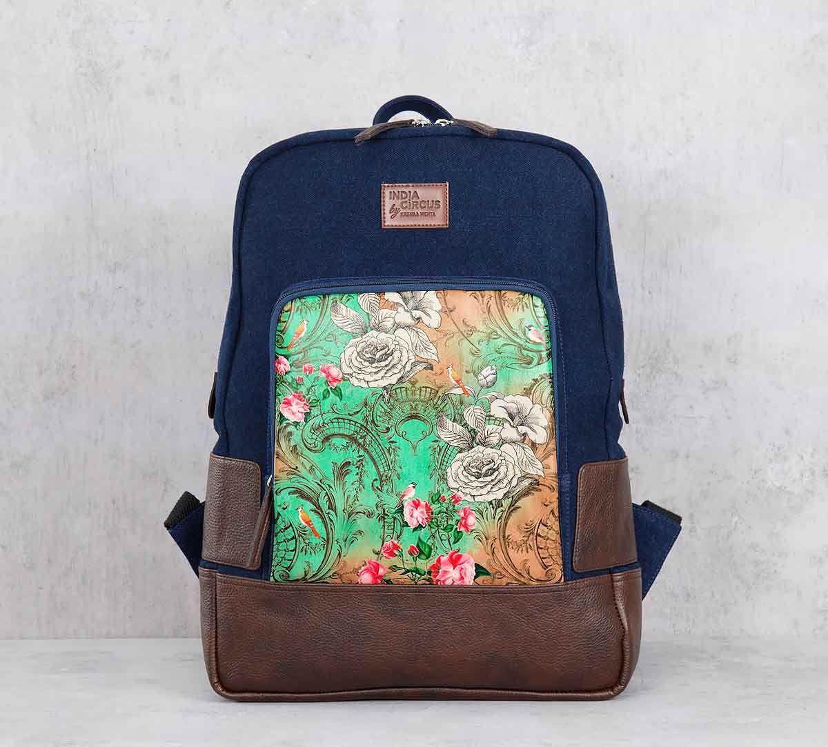 India Circus Floral Flutter Denim Backpack