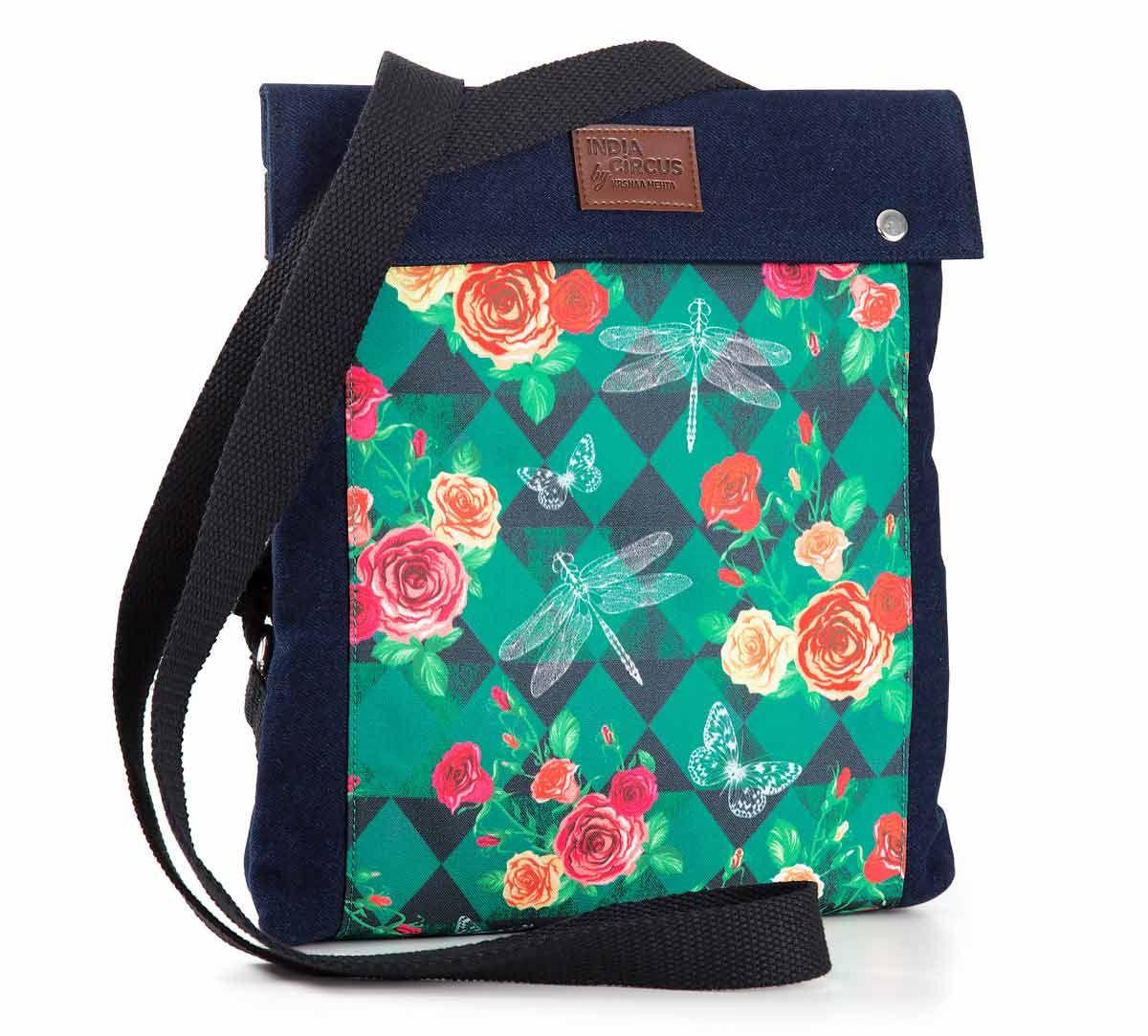 India Circus Floral Flutter Sling Denim Backpack