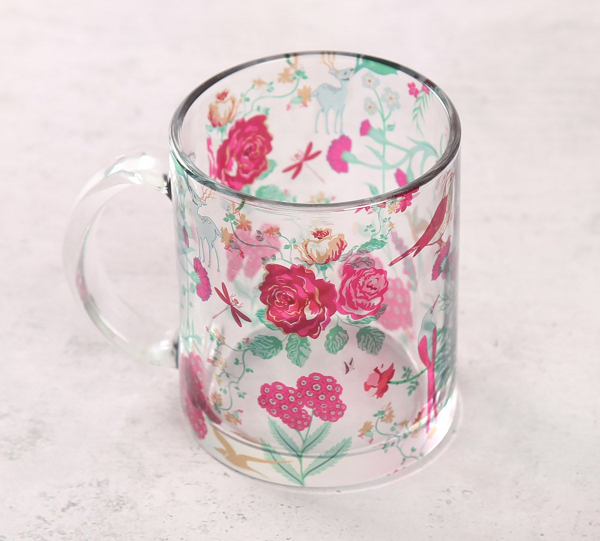 India Circus Floral Galore Glass Mug
