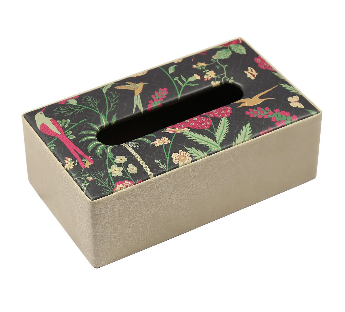 India Circus Floral Galore Leather Tissue Box Holder