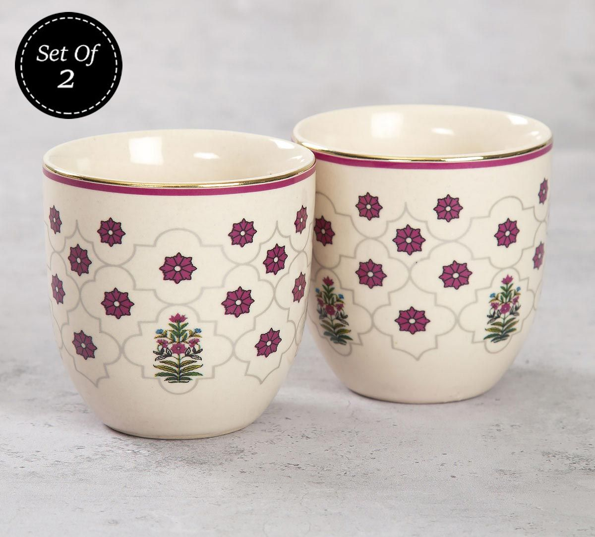 India Circus Floral Lattice Chai Kulhad (Set of 2)