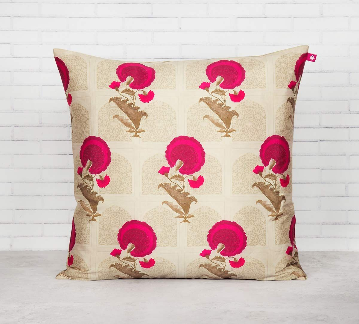India Circus Flower Regalia Blended Taf Silk Cushion Cover