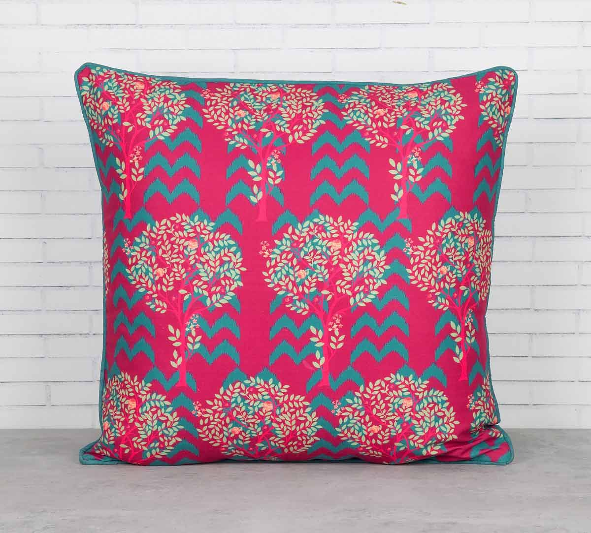 India Circus Flutter Tree Blended Taf Silk Cushion Cover
