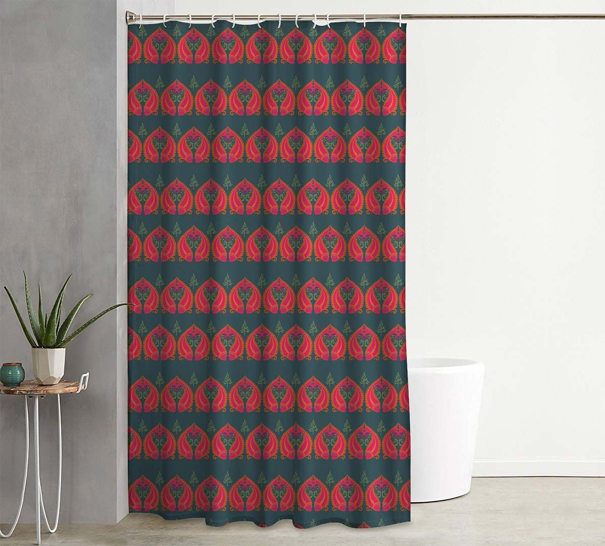 India Circus Fuchsia Fish Romance Shower Curtain