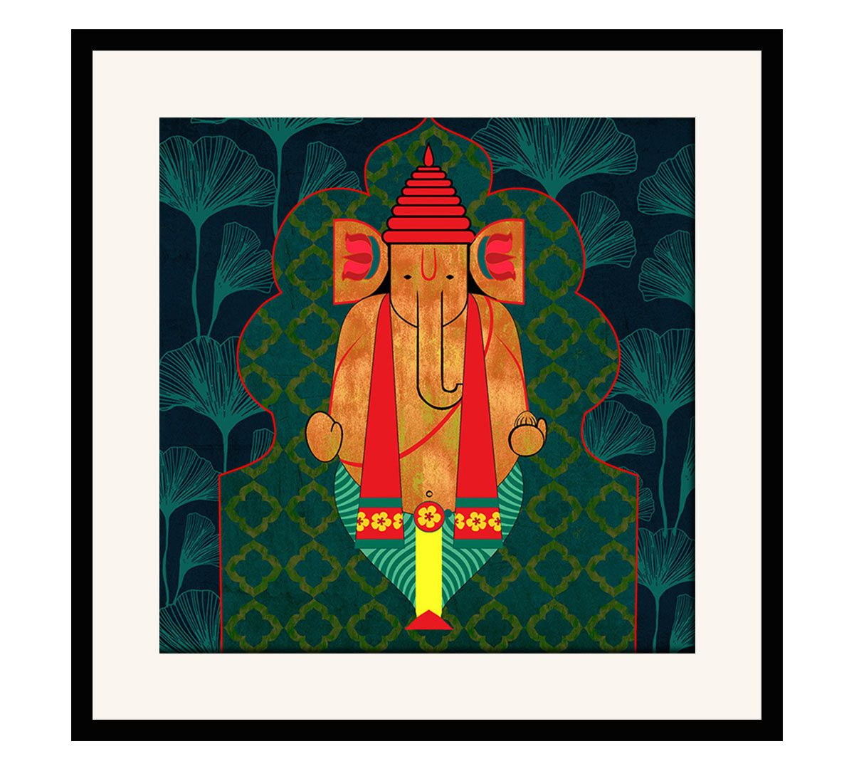 India Circus Ganesha's Riad Arch 16 x 16 and 24 x 24 Framed Wall Art