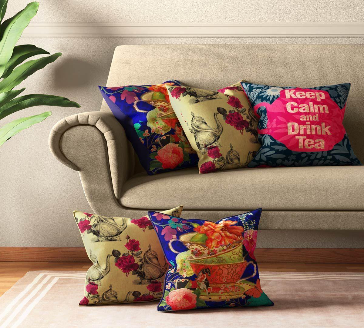 India Circus Garden Hi-Tea Cushion Cover Set of 5